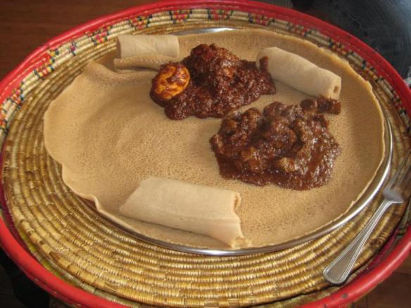 Injera & Wot, traditional Ethiopian dish